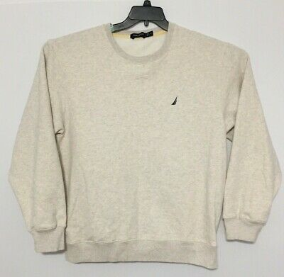 Nautica Men Sweatshirt Size XL Long Sleeve Crew Neck Pullover Beige