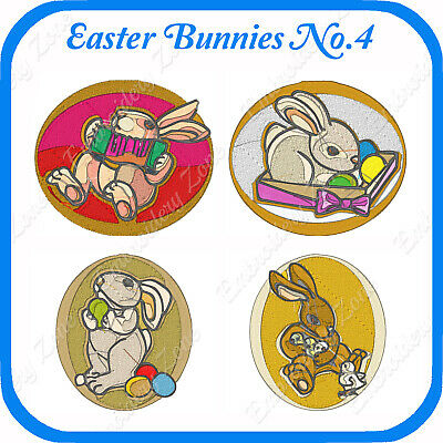 10 Easter Bunnies Embroidery Designs On Usb - No.4 - Pes Jef Hus Pcs Xxx Vp3