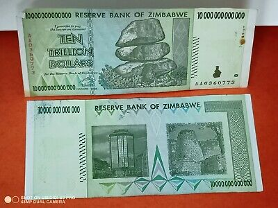 10 TRILLION ZIMBABWE DOLLARS 2008 AA. circulated F (50 20 100 $10,000,000,000)