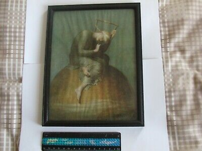Art Deco or earlier period original small framed picture of girl on top of world