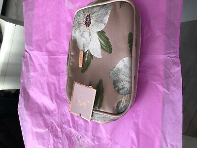 Brand new with tags Ted Baker cosmetic bag pink metallic satin floral design