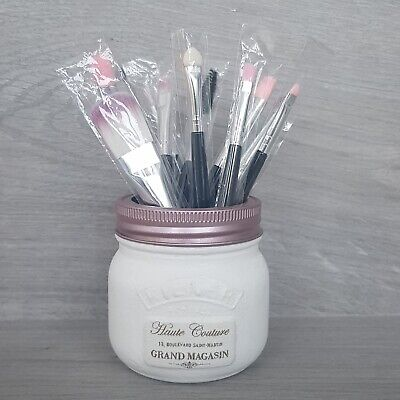 Set of 10 Make Up Brushes in Kilner Jar / Pot Holder - Haute Couture - (179j)
