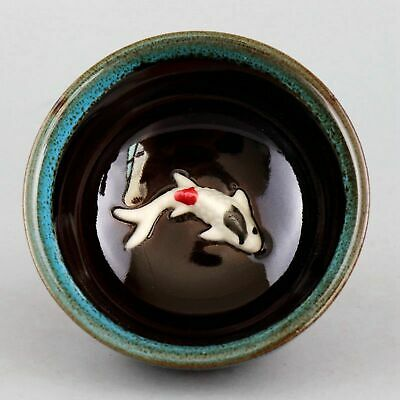 Collectable China Culture Porcelain Relievo Lifelike Fish Delicate Noble Tea Cup