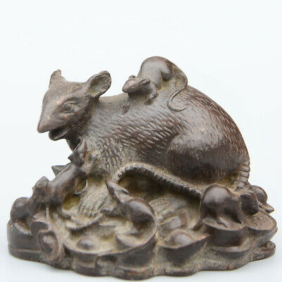 Collectable China Old Red Copper Hand-Carved Lovely Mouse & Wealth Luck Statue