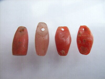 4 Ancient Neolithic Quartz, Red Jasper Amulets, Stone Age, VERY RARE !!  TOP !!