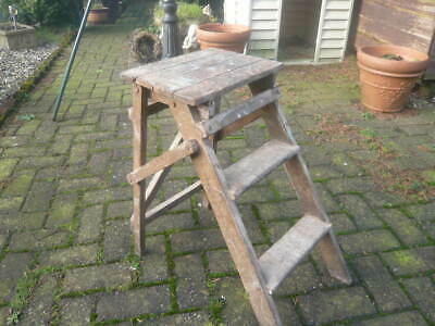 Antique Vintage Old Small Folding Wooden Steps / Stool / Plant Stand To Restore