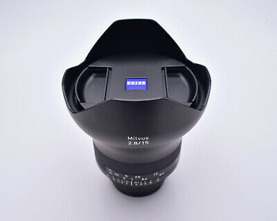 Zeiss Milvus ZF.2 Distagon f/2.8 15mm T* Wide Angle Lens Caps Hood Nikon (#5705)