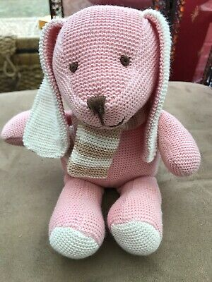 Tiny Treasures Dog Soft Toy Pink knitted puppy with scarf card factory Plush