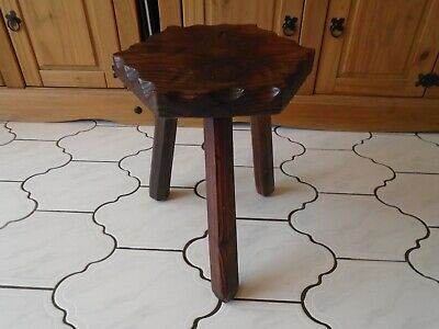Vintage Retro 3 leg Wooden milking Stool Seat 60s 70s home or side end table