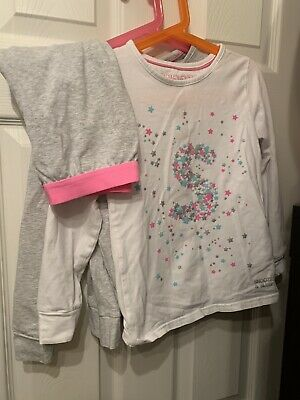 M&s Girls Pyjamas Age 7-8 White Grey Snooze Super Soft Ex Cond 2tops 1 Bottoms