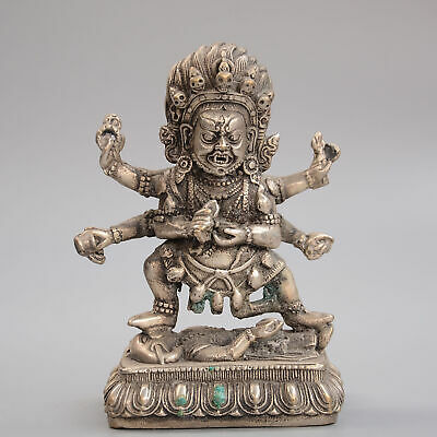 Collectable China Old Miao Silver Hand-Carve Auspicious Exorcist Buddhism Statue