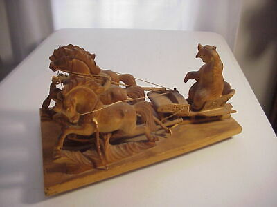 GERMAN BLACK FOREST WOOD CARVING of TROIKA with Carved Bear Driving 3 Horses