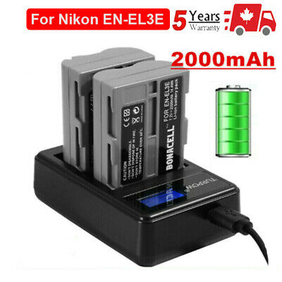 2X EN-EL3E Replacement Battery High Quality +LCD Dual Charger For Nikon D700 D80