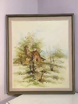 Vintage Original Oil Painting On Canvas Of A Cabin In The Woods. Framed Signed