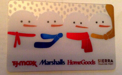 T.j. Maxx Usa Marshalls Home Goods Snowman Gift Card Rechargeable No Value
