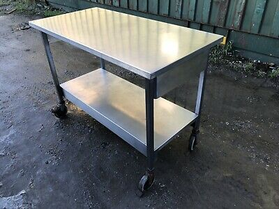 Stainless Steel Commercial Catering Table Work Bench Kitchen With Wheels