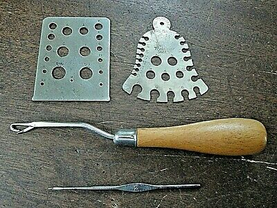 2 Vintage metal knitting pin gauges & a latch hook, 1 Abel Morrall's, 2 unknown.