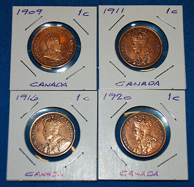 4 Canadian One Cent Coins Years 1909, 1911, 1916, 1920