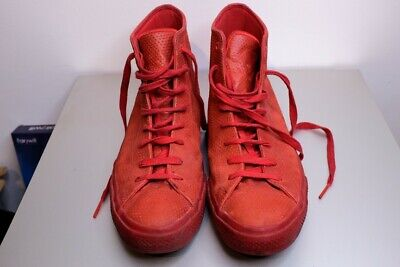 Men's Converse size 12 red leather hi tops