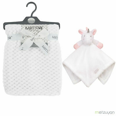 Personalised  embroidered BABY WAFFLE BLANKET &  unicorn comforter set luxury