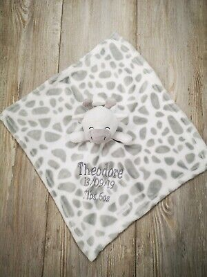 Personalised  embroidered super soft BABY giraffe BLANKET /comforter set luxury