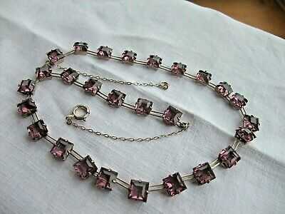 BEAUTIFUL ART DECO RIVIERE AMETHYST and SILVER NECKLACE