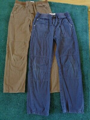 2 pairs of boys cargo style lightweight trousers blue and brown 10 years