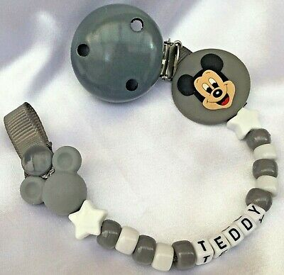 ❤ PERSONALISED DUMMY CLIP ❤ 9 letters ❤ D/GREY & WHT ❤ MICKEY ❤ BUY 2 GET 1 FREE