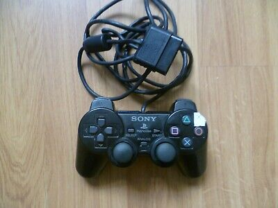 ORIGINAL SONY PLAYSTATION  1 OR 2  PS1 PS2  BLACK WIRED DUAL SHOCK CONTROLLER -x