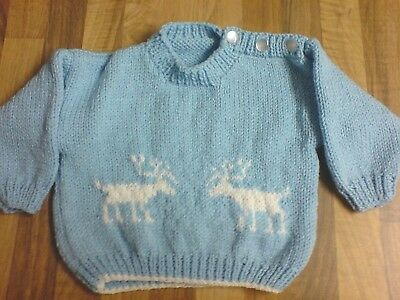 Gorgeous Hand Knitted Baby Blue Glitter Reindeer Christmas Jumper & Hat Gift Box
