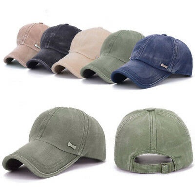 Unisex Retro Men Plain Classic Baseball Caps Peaked Stonewash Casual Sports Hats