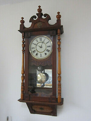 Antique  slope bottom chiming Wall Clock- New Haven- circa 1890