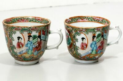 Antique Chinese Export Porcelain 2 Teacups Bird Butterfly Floral Women Teahouse