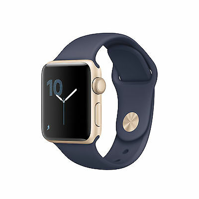 Apple Watch Series 2 38mm Gold Aluminum Case Midnight Blue Sport Band MQ132LL/A
