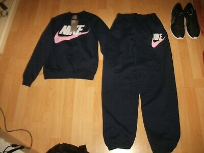 Bnwt Girls Navy/Pink/White Unbranded Jogging Suit Set Sweater/Pants 13-14 Yrs