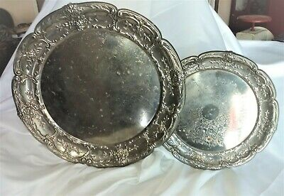 "Set 2 Leonard Silver Plated Round Serving Trays 14.5"" & 10.5"""