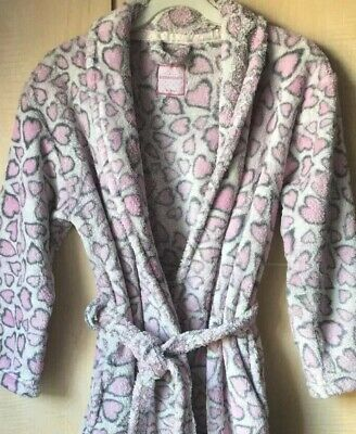 Girls Pink /White Love Hearts 💕 Soft Fleece Hooded Dressing Gown age 9-10