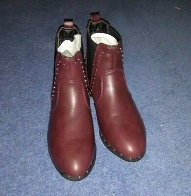 Girls New Look Red Studded Ankle Boots Size UK 4 EU 37 Brand New with label