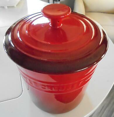 Le Creuset Stoneware Cherry Red Cerise 2.5 Quart Covered Canister EUC!