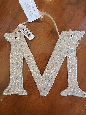 POTTERY BARN KIDS German Silver Glitter Letter M Holiday Christmas Tree Ornament