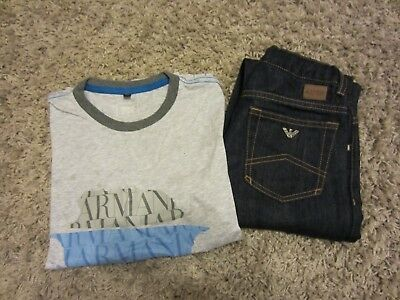 boys armani junior t-shirt  and jeans set/outfits age 8-10a