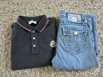boys moncler polo and  true religion 'jack' jeans  age 8