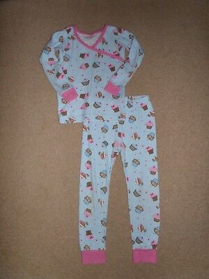 SUPER CUTE!! Girl's 100% ORGANIC COTTON Pyjama Set Age 6 Cupcake Theme From USA