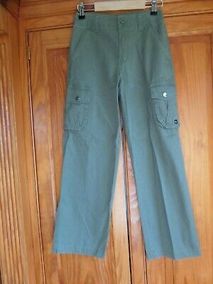 SUPER TRENDY! Boy's QUIKSILVER Cargo Trousers Age 8-9 Khaki Green Perfect for NO