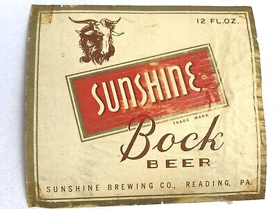 Vintage Sunshine Bock Beer Label Reading Pennsylvania Ram Goat