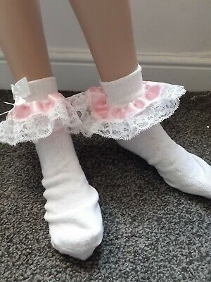 Adult baby/sissy/maid/school/transgender/ girl lace trimmed ankle socks.8-11 UK