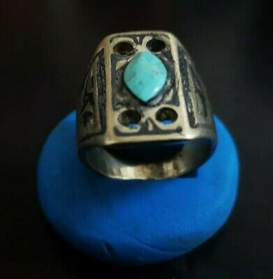 LATE MEDIEVAL SILVERED RING WITH BLUE STONE 22.83mm (inner 19.47mm