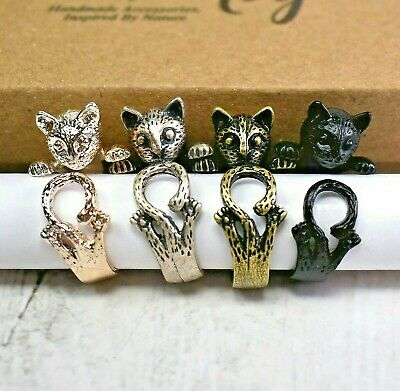 Cat Ring with Curly Tail: Silver, Black, or Bonze, Adjustable Wrap Animal Ring