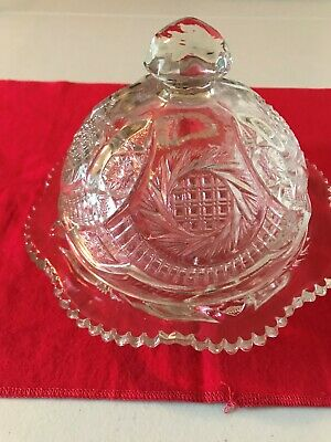 Vintage Depression Glass Butter Dish with Cover, Scalloped Edges, Starburst