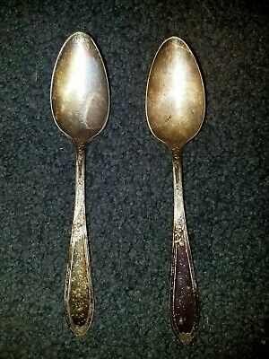 (2) old Silver Plated Spoons ~ New England A1